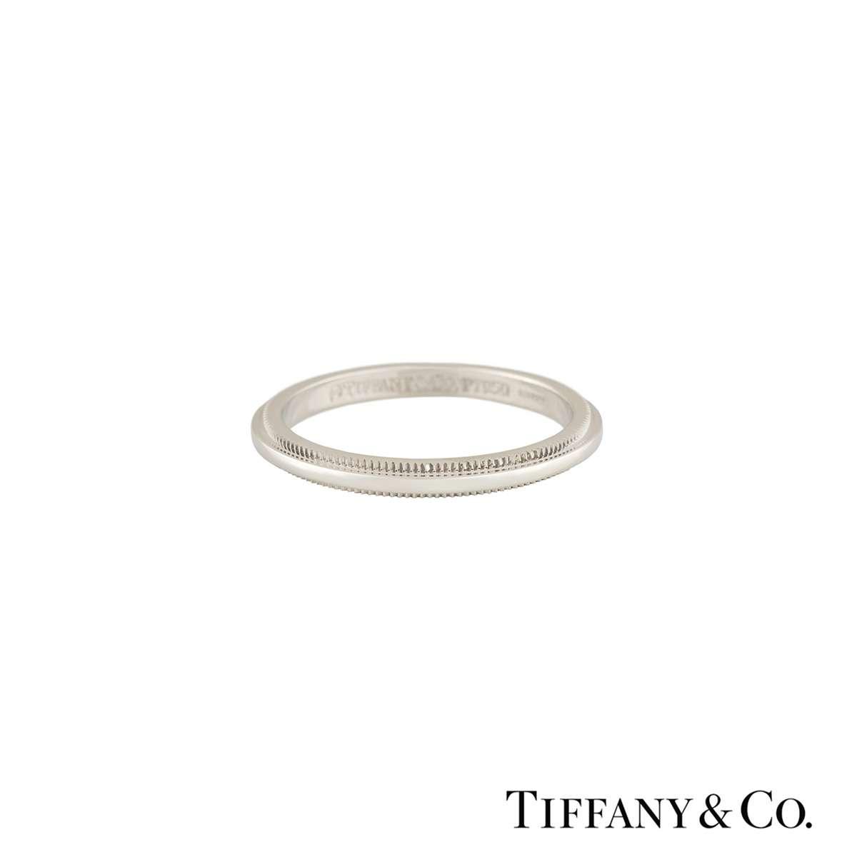 Tiffany Co Platinum Lucida 2mm Wedding Band Ring Sz 8: Tiffany & Co. Classic Wedding Band